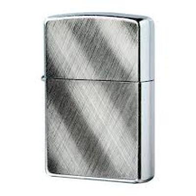 Купить Зажигалка зиппо (zippo) классик с покрытием брушед хром серебристая матовая 28182 диагональные линии в Уфе в магазине Tabakos