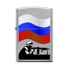 Зажигалка зиппо русский солдат серебристая матовая 207