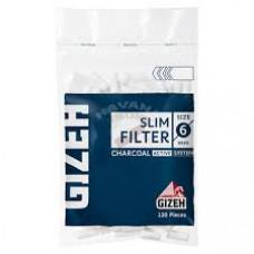 Фильтр сигаретный гизех (gizeh) слим угольный 6 мм