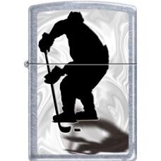 Зажигалка зиппо (zippo) хоккеист серебристая матовая 207